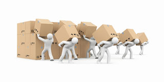 People unload a bunch of boxes. Parcel delivery. 3d illustration Royalty Free Stock Photo