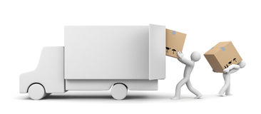 People unload a car. People at work metaphor. Separated on white Stock Image