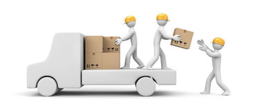 People unload a car. People at work metaphor. Separated on white Royalty Free Stock Photography