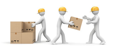 People unload cargo. People at work metaphor. Separated on white Stock Image