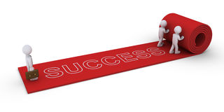 People unveil success path to businessman. Two 3d people are unrolling rug with success word to businessman Stock Image