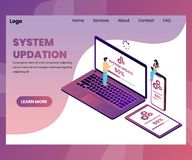 People updating the system of the computer isometric artwork concept vector illustration