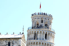 People Upon The Leaning Tower In Pisa, Italy Stock Image