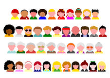 People upper body icon set Stock Image
