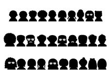 People upper body silhouette icon set Stock Images