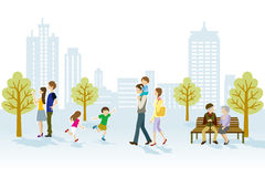 People in Urban park vector illustration