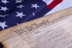 We The People US Constitution. American Constitution with US Flag Royalty Free Stock Photography