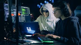 Professional hackers working with computers. Cyber attack concept. stock video