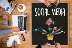 People use Connecting and Sharing Social Media , digital tablet. Social media concept , Social Media Online Post Share seo and phone stock photo