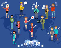 People use the Internet and gadgets. Social network. Royalty Free Stock Image