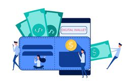People use laptop, smartphone for digital wallet, mobile banking, online finance, e-commerce. E-wallet technology concept. Catoon Vector Illustration Royalty Free Stock Image