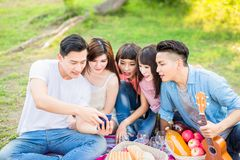 People happy at a picnic royalty free stock photography