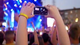 Smart phones music concert stock footage