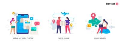 People use smartphones, leisure tourism, flights, social networks set of icons, illustration. Smartphones tablets user vector illustration