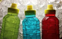 Sports energy drinks on ice. stock photo