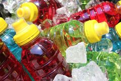 Sports energy drinks on ice. royalty free stock image