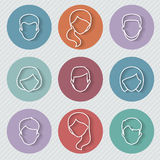 People userpics linear icons Royalty Free Stock Images