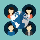 People users avatar icons image. People users avatar with earth globe icons image  illustration design Stock Photos