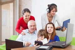 People  uses few  electronic devices in home Stock Image