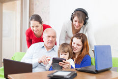 People  uses few various devices Stock Photos