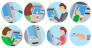 People using ATM machine. Vector illustration icons isolated white background. Royalty Free Stock Photos