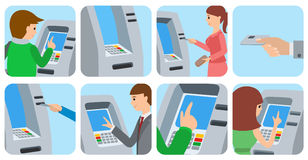 People using ATM machine. Vector illustration icons  white background. People men and women using ATM machine. Vector illustration square icons  white Stock Photography