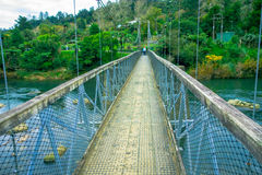 People using the bridge over a Waikato river, Arapuni, New Zealand.  Royalty Free Stock Photos