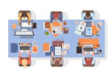 People Using Computers Businesspeople Workplace Desk Top Angle View Teamwork. Flat Vector Illustration Stock Photo