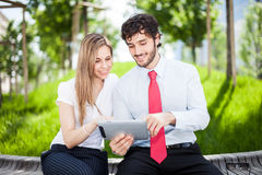 People using a digital tablet Stock Image