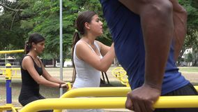 People Using Exercise Equipment stock video footage