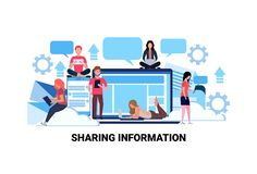 People using internet gadgets social network sharing information concept online share connection communication flat. Horizontal vector illustration royalty free illustration