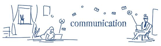 Free People Using Laptop Online Communication Concept Man Woman Couple Chat Messenger Application Sketch Doodle Horizontal Stock Photos - 122542773