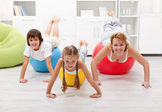 People using large exercise balls Stock Photography