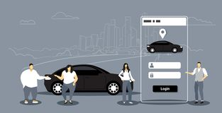 People using mobile app men women ordering automobile vehicle rent car sharing concept transportation carsharing service. Smartphone screen application stock illustration