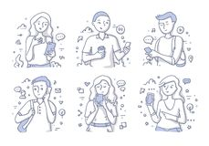People Using Mobile Phone. Young smiling people using mobile phones and gadgets. Getting use of technology trends. Doodle vector hand drawn illustration in line vector illustration