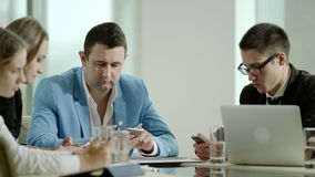 People using phones on meeting. Business and technology. people using phones on meeting stock video footage