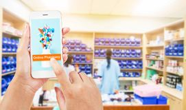 Online pharmacy concept. People using smartphone about prescription on line. Online pharmacy concept stock image
