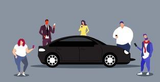 People using smartphones car sharing transportation service concept men women ordering taxi online mobile application. Sketch horizontal vector illustration stock illustration
