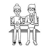 People with smartphones. People using smartphones and seated on wooden bench in black and white vector illustration graphic design vector illustration
