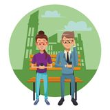 People with smartphones. People using smartphones and seated on wooden bench city round icon vector illustration graphic design royalty free illustration