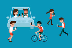 People using smartphones while walking and driving. People using smartphones while walking and driving in city Royalty Free Stock Image