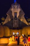 People using the Sphinx entrance of a famous hotel in Las Vegas Royalty Free Stock Image