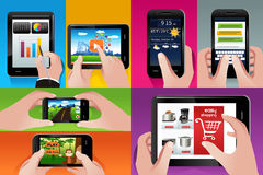 People using tablet and cell phones stock illustration