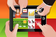 People using tablet PC vector illustration