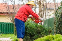 People using trimmer tool in garden Royalty Free Stock Images