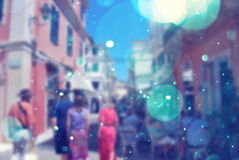 People on a vacation in corfu town with bokeh effect Royalty Free Stock Photography