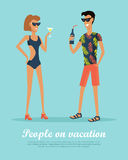 People on Vacation Drinking Cocktails on Rest. Stock Image