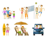 People on vacation icons set.  travel, journey. People set color icons on white background. vector illustration Stock Photos