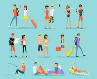 People Vacation Set Man and Woman Royalty Free Stock Photos