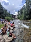 People in Vail Colorado. People enjoying a nice day in Vail Colorado Stock Images